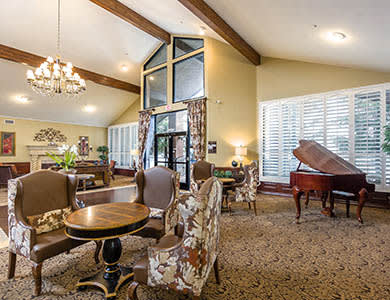 Grand piano at Pacifica Senior Living Northridge