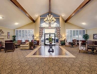 Grandiose lobby at Pacifica Senior Living Northridge