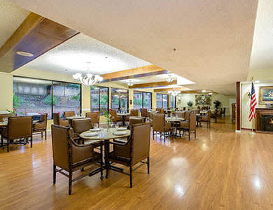 Gorgeous dining area at Pacifica Senior Living Northridge