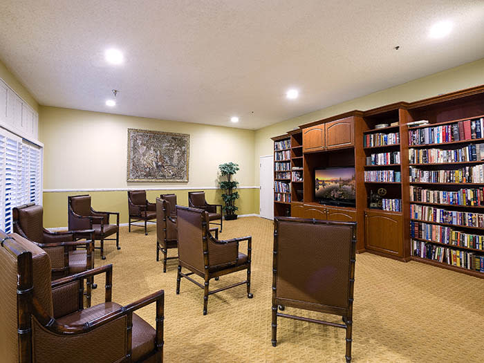 Pacifica Senior Living Northridge has a theater for viewing your favorite flicks