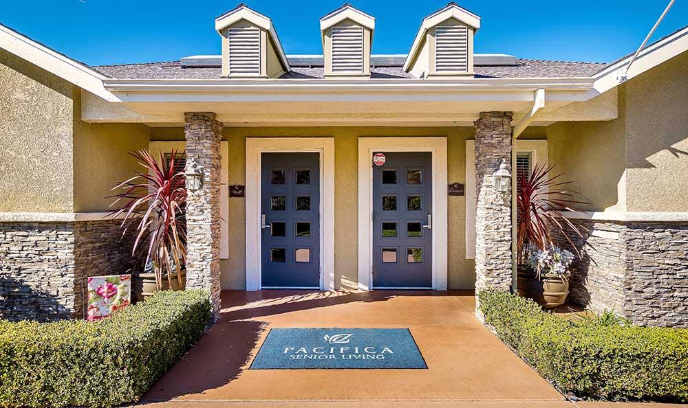 Entrance at Pacifica Senior Living Newport Mesa