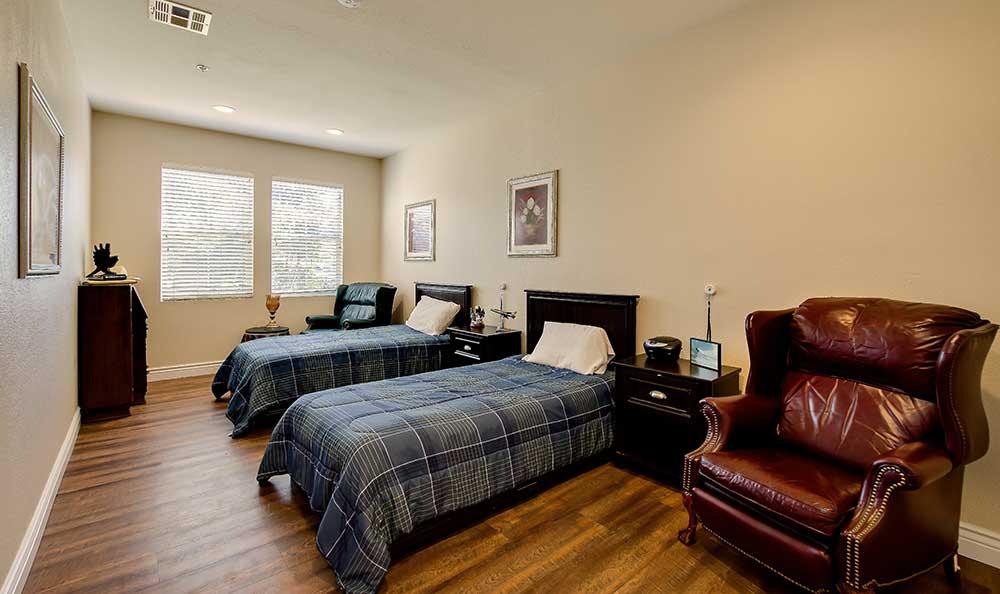 Bedroom at Pacifica Senior Living Newport Mesa in Costa Mesa, CA