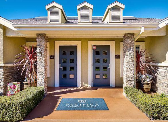 Entrance at Pacifica Senior Living Newport Mesa