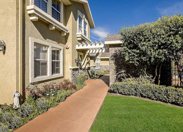 Side walkway at Pacifica Senior Living Newport Mesa