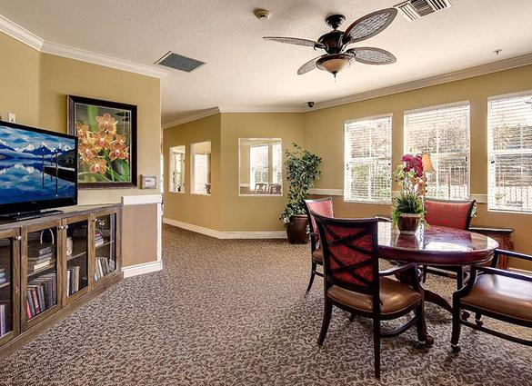 Activity room at Pacifica Senior Living Newport Mesa in Costa Mesa, CA