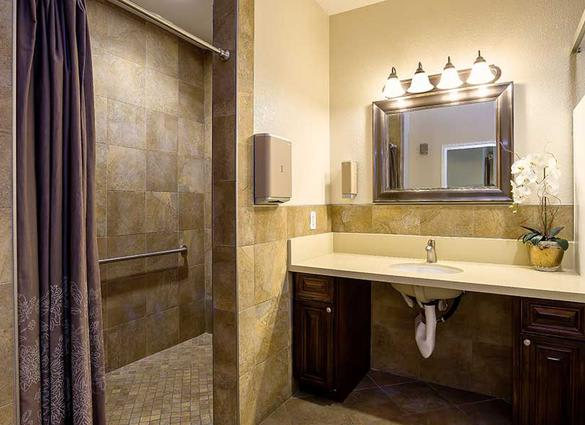Spacious bathroom at Pacifica Senior Living Newport Mesa