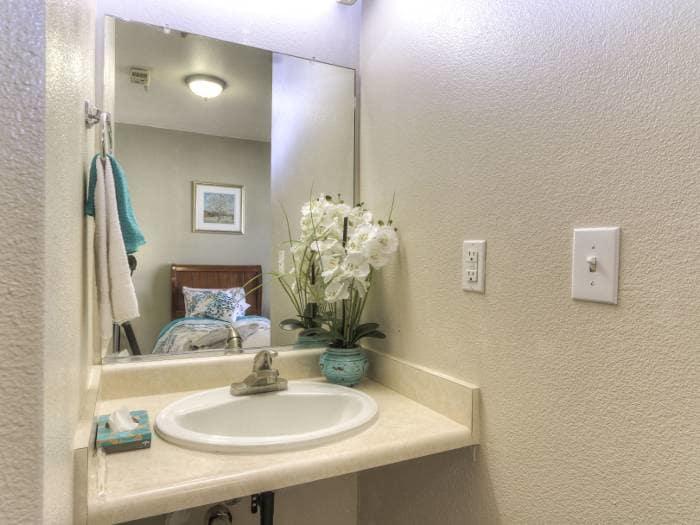 Bathroom sink at Pacifica Senior Living Modesto in Modesto