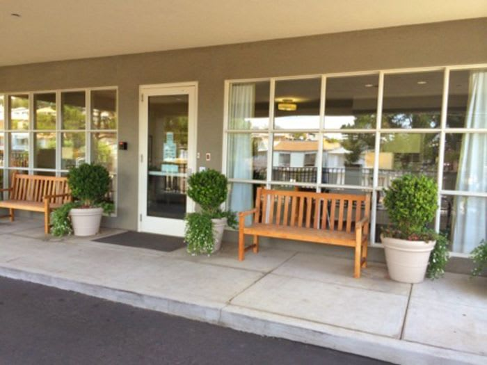 Exterior lobby at Pacifica Senior Living Mission Villa