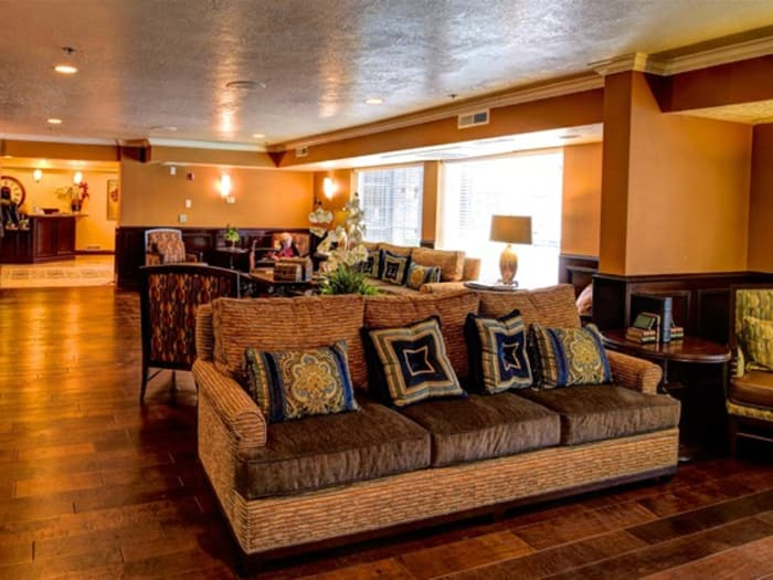 Comfy couch at Pacifica Senior Living Millcreek
