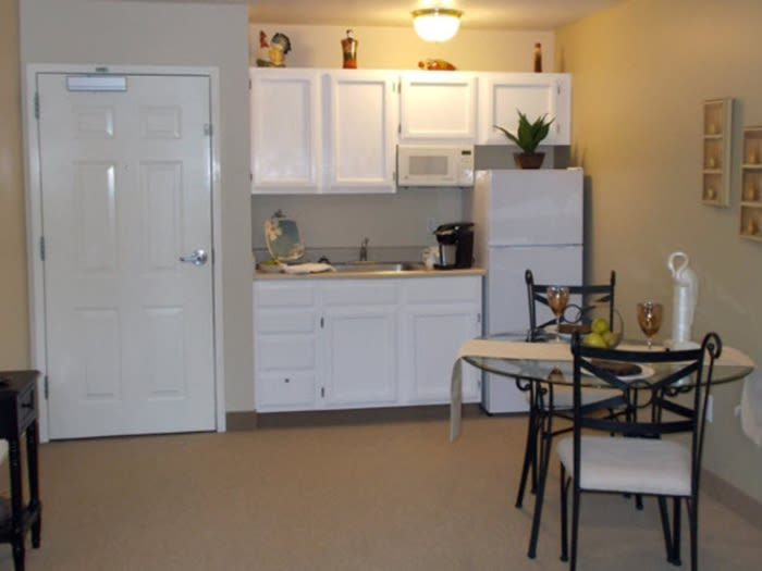 White cabinets accent the kitchens at Pacifica Senior Living Millcreek