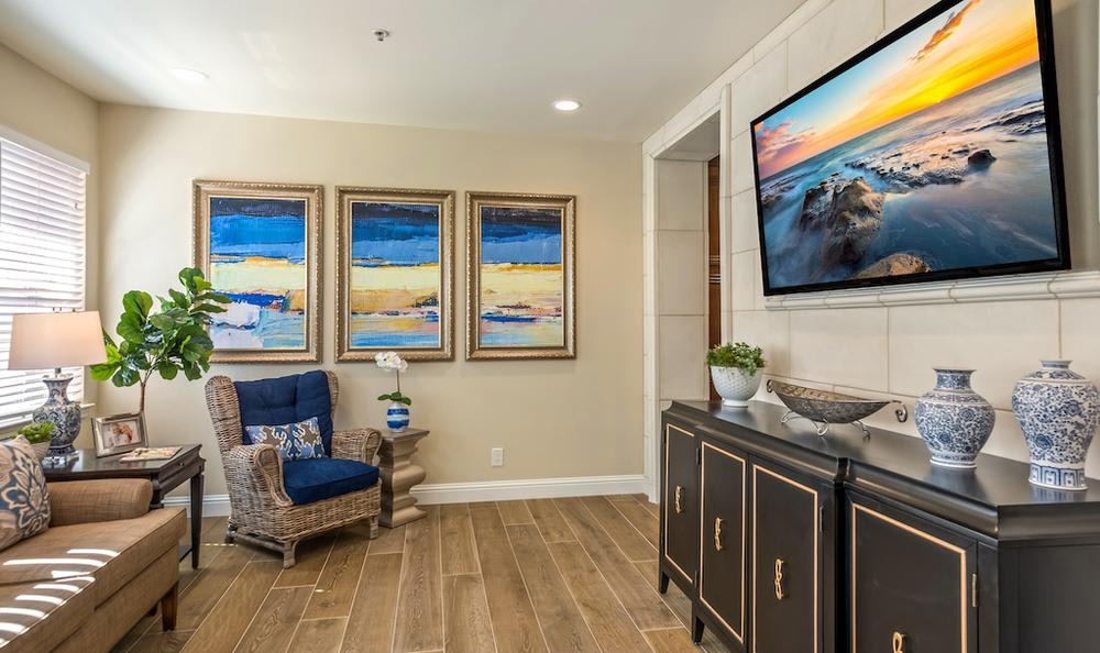 Beautiful living room at apartments in Merced, CA