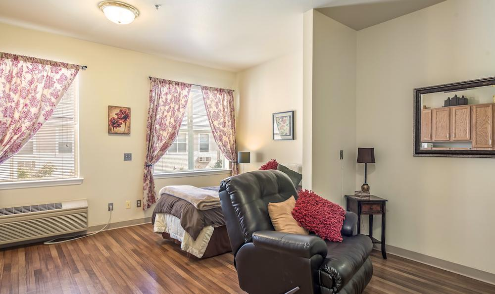Spacious bedroom at Pacifica Senior Living Merced in Merced, CA