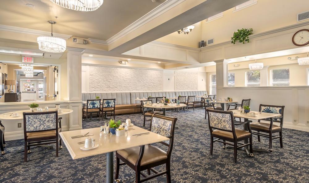 Unique dining room at Pacifica Senior Living Merced in Merced, CA