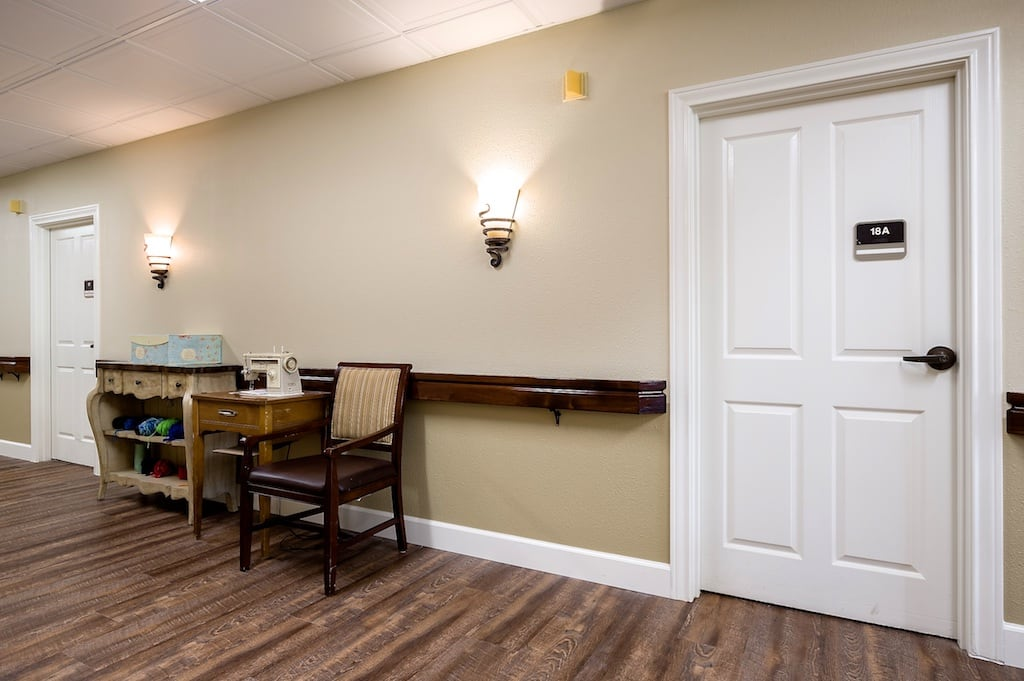 Unit entrance and hallway at Pacifica Senior Living McMinnville