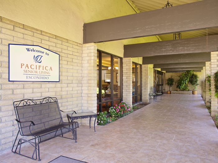 Covered patio at Pacifica Senior Living Escondido