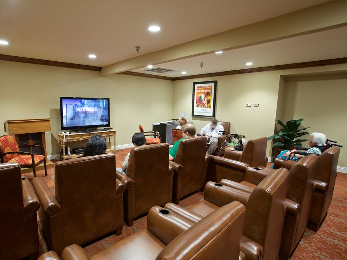 Media room at Pacifica Senior Living Escondido