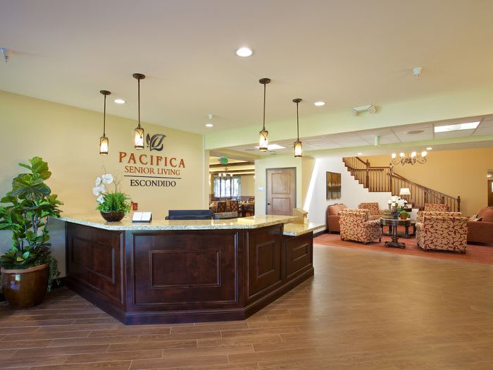 Luxurious lobby at Pacifica Senior Living Escondido