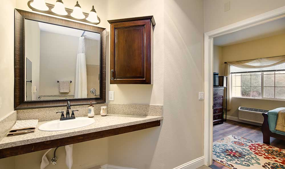 Bathroom at Pacifica Senior Living Country Crest in Oroville, CA