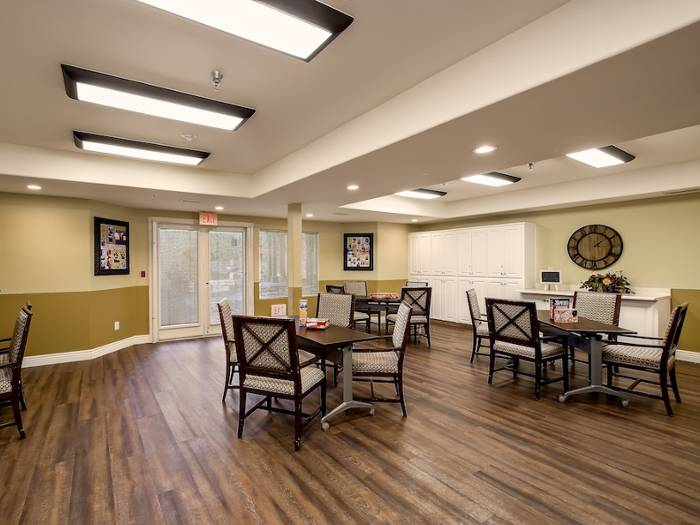 Dining area  at Pacifica Senior Living Chino Hills in California