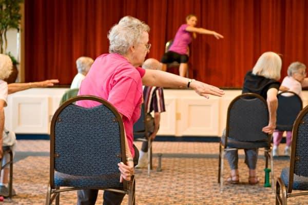 Exercise class at Pacifica Senior Living Calaroga Terrace