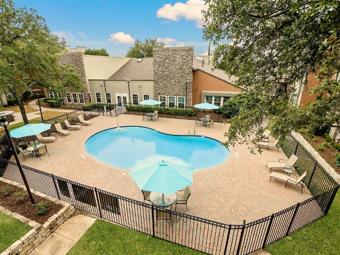 Aerial view of pool at NewForest Estates