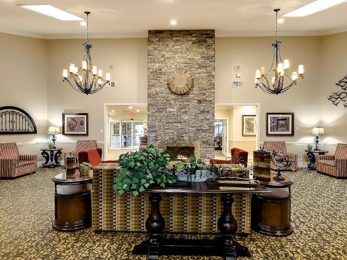 Living room and fireplace at NewForest Estates in Texas