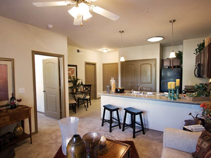 Well decorated dining room and kitchen at Meridian at Kessler Park