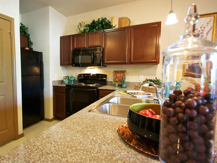 Kitchen in a senior apartment at Meridian at Kessler Park