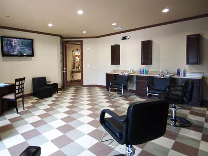 Barbershop for our senior living residents at Meridian at Kessler Park in Dallas, TX