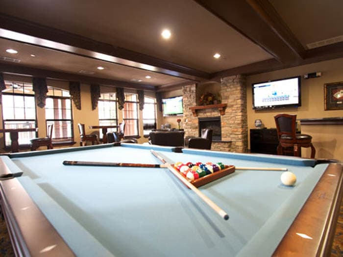 Fun billiards room at Meridian at Kessler Park in Dallas, TX