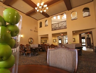 Great room and fresh green apples at Meridian at Kessler Park in Dallas, TX