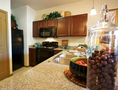 Senior apartment kitchen at Meridian at Kessler Park in Dallas, TX