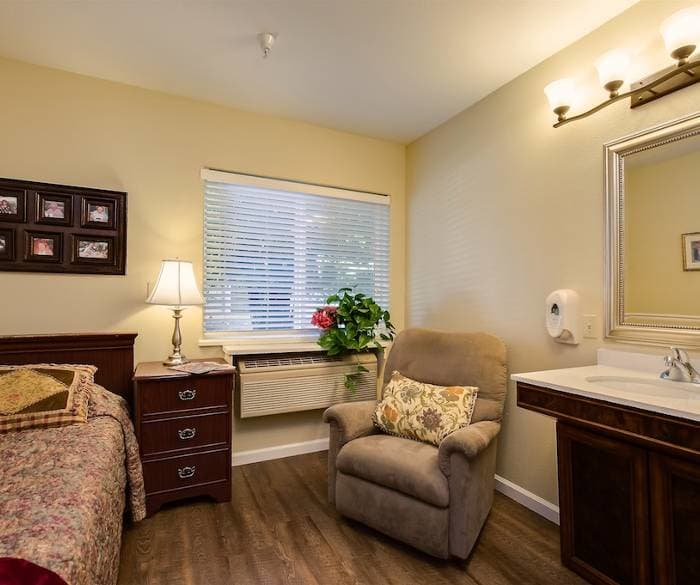 Well decorated bedroom at Pacifica Senior Living Vacaville
