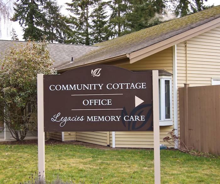 Main sign of memory care community at Pacifica Senior Living Lynnwood