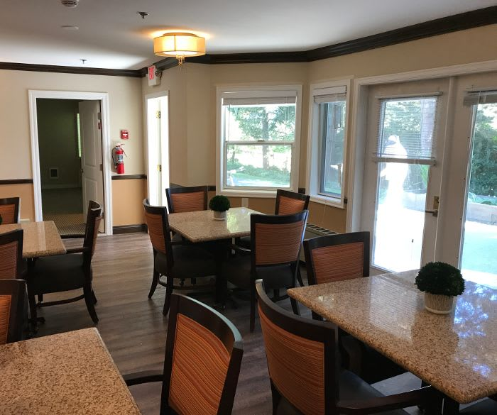 Dining area in the clubhouse at Pacifica Senior Living Lynnwood