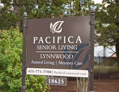 Entrance sign at Pacifica Senior Living Lynnwood