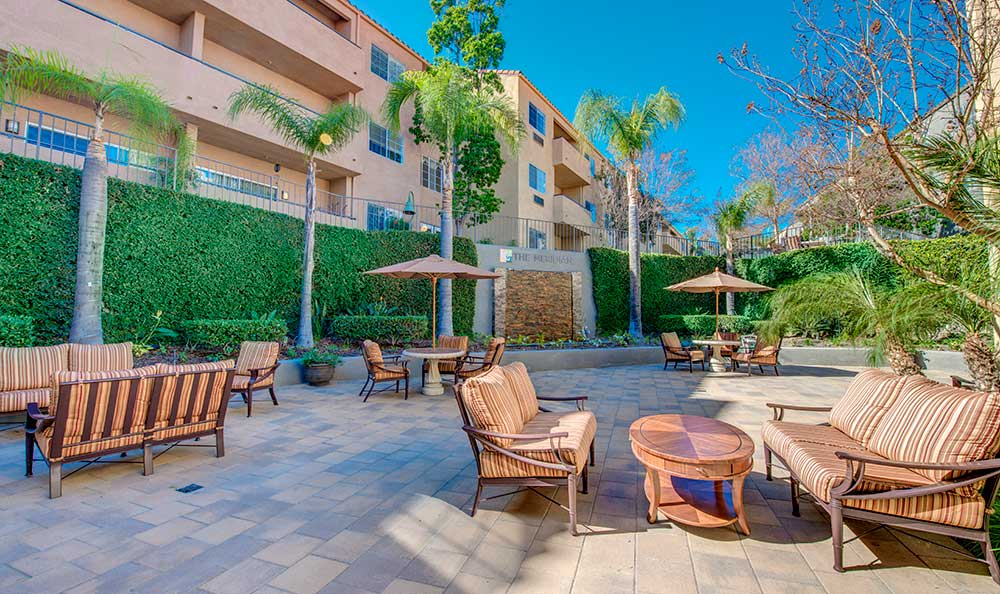 Enjoy time with friends on the patio at The Meridian at Anaheim Hills