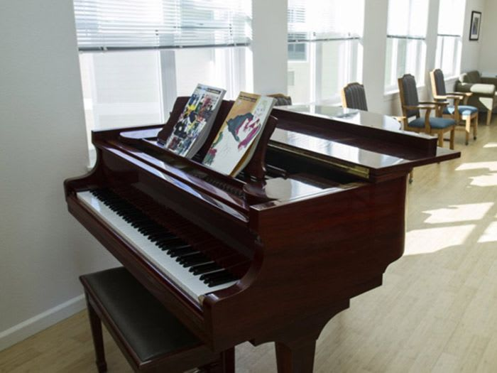 Beautiful piano at Pacifica Senior Living Vancouver in Vancouver, WA