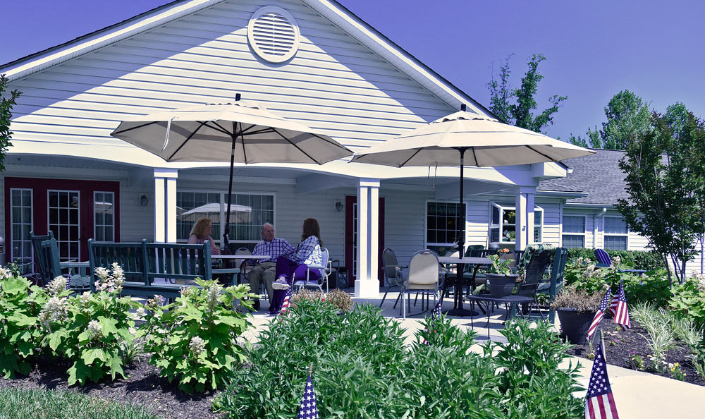 Great Falls Assisted Living features a large patio