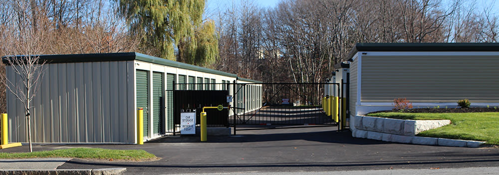 Gated entrance to Leominster Storage Solutions in Leominster, MA