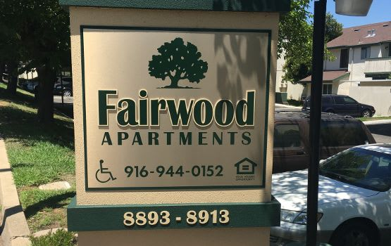 Our sign welcomes residents and their guests at Fairwood Apartments