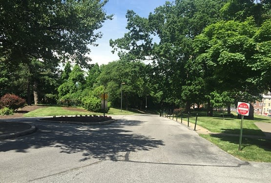 View of the well-kept grounds as you approach Sandy Hill Terrace in Norristown