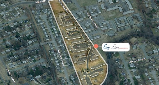 Aerial view of the City Line Apartments property in Newport News