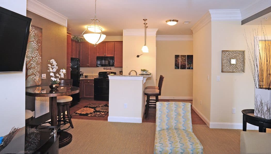 Living room and kitchen at Cambria at Cornerstone in Virginia Beach