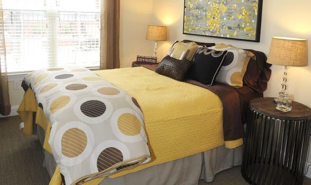Well decorated bedroom at Cambria at Cornerstone