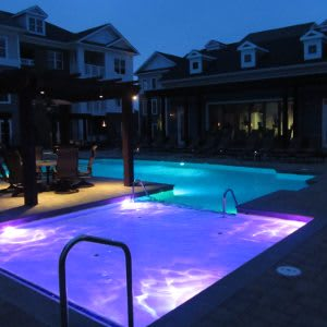 Pool at night at Cambria at Cornerstone
