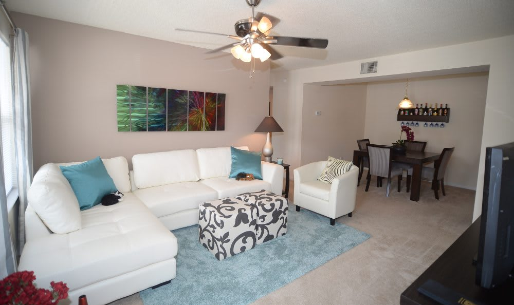 Living room at Ashbrook Apartments in Virginia Beach