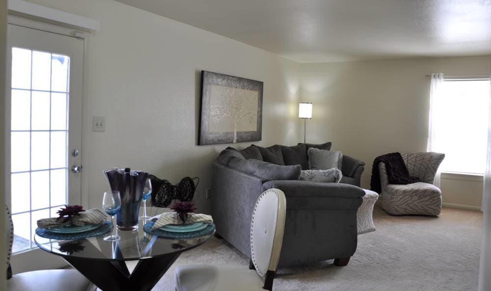 Living room and dining area at The Townes at Jones Run