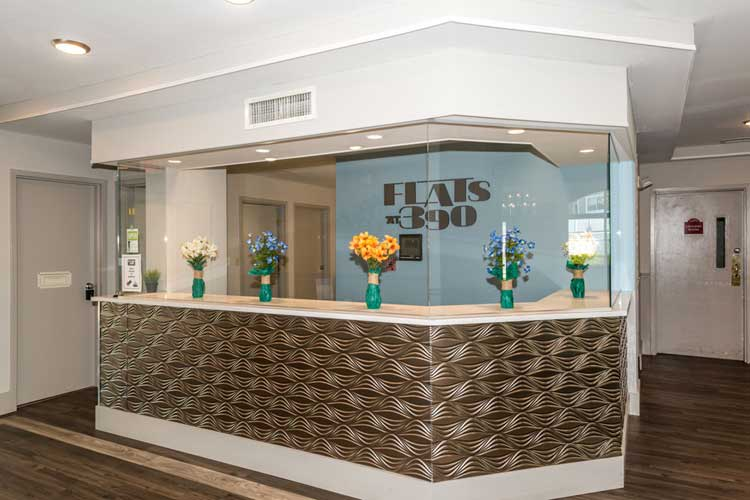 Flats at 390 reception desk