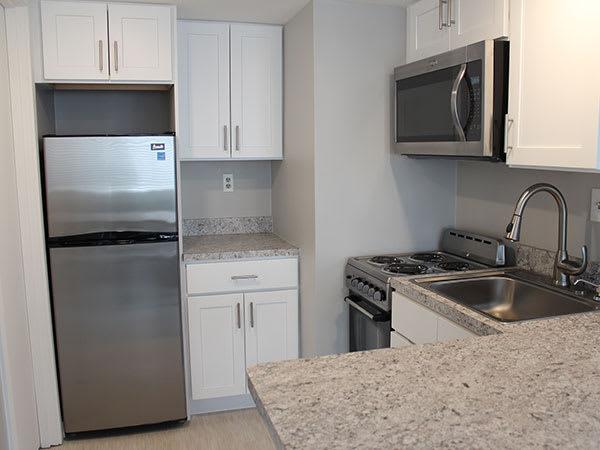 Model kitchen at Flats at 390